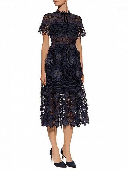 8d6472bca0 Navy Blue Mesh Panel 3D Floral Lace Double Layer Midi Dress - Choies ...