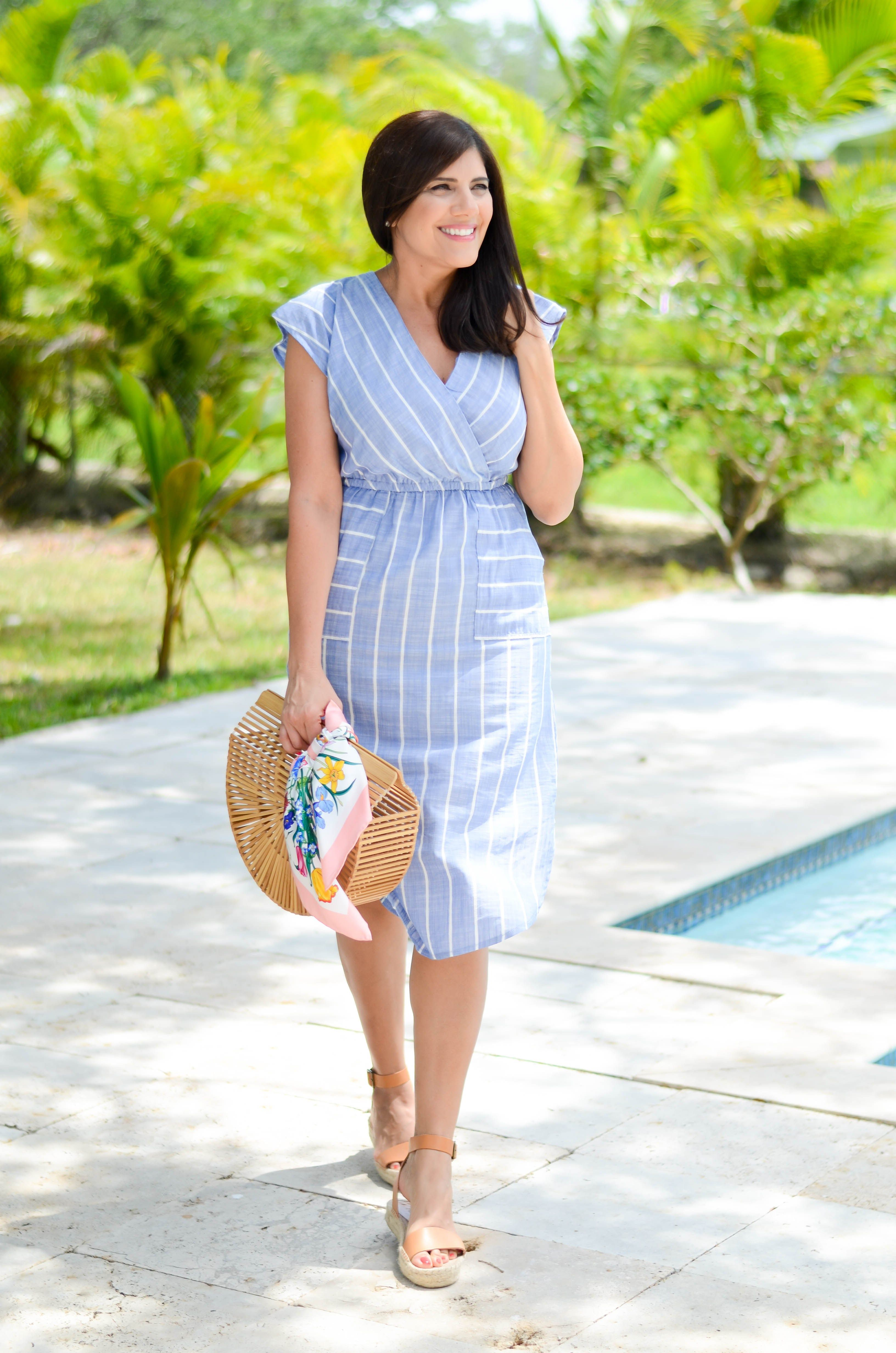 Blue And White Striped Dress For Spring Beautifully Seaside Blue Dress Outfits Summer Dress Outfits Blue Summer Dress Outfit [ 4928 x 3264 Pixel ]