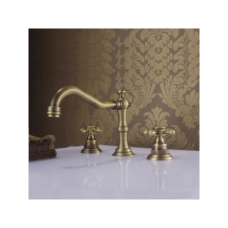 Antique Sink Faucet Brass Finish Widespread Bathroom Sink Tap Sink Bathroom Faucets Sink Faucets