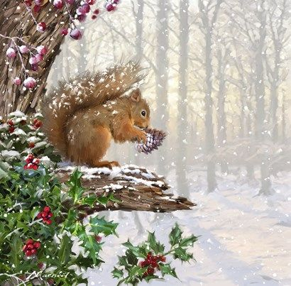 Christmas Squirrel by The Macneil Studio