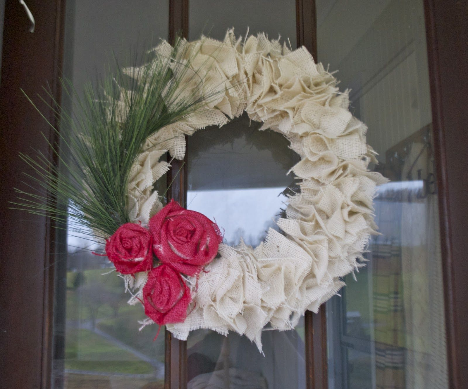 Youll Need A Straw Wreath, Fabric Squares (I Used Burlap,