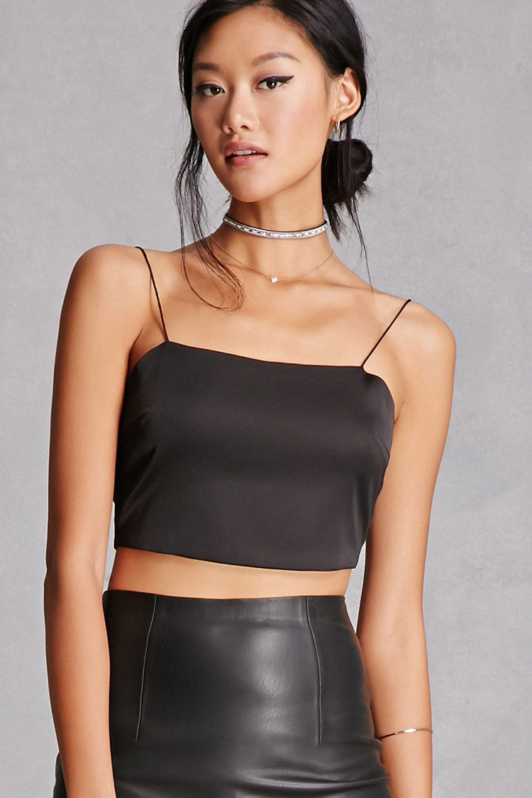 1d51b5599e A satin crop top featuring a square neckline, spaghetti straps, and a  self-tie back. This is an independent brand and not a Forever 21 branded  item.