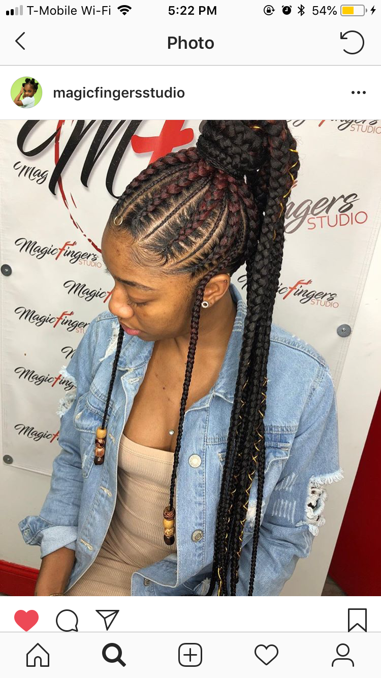 Feed in braided ponytail