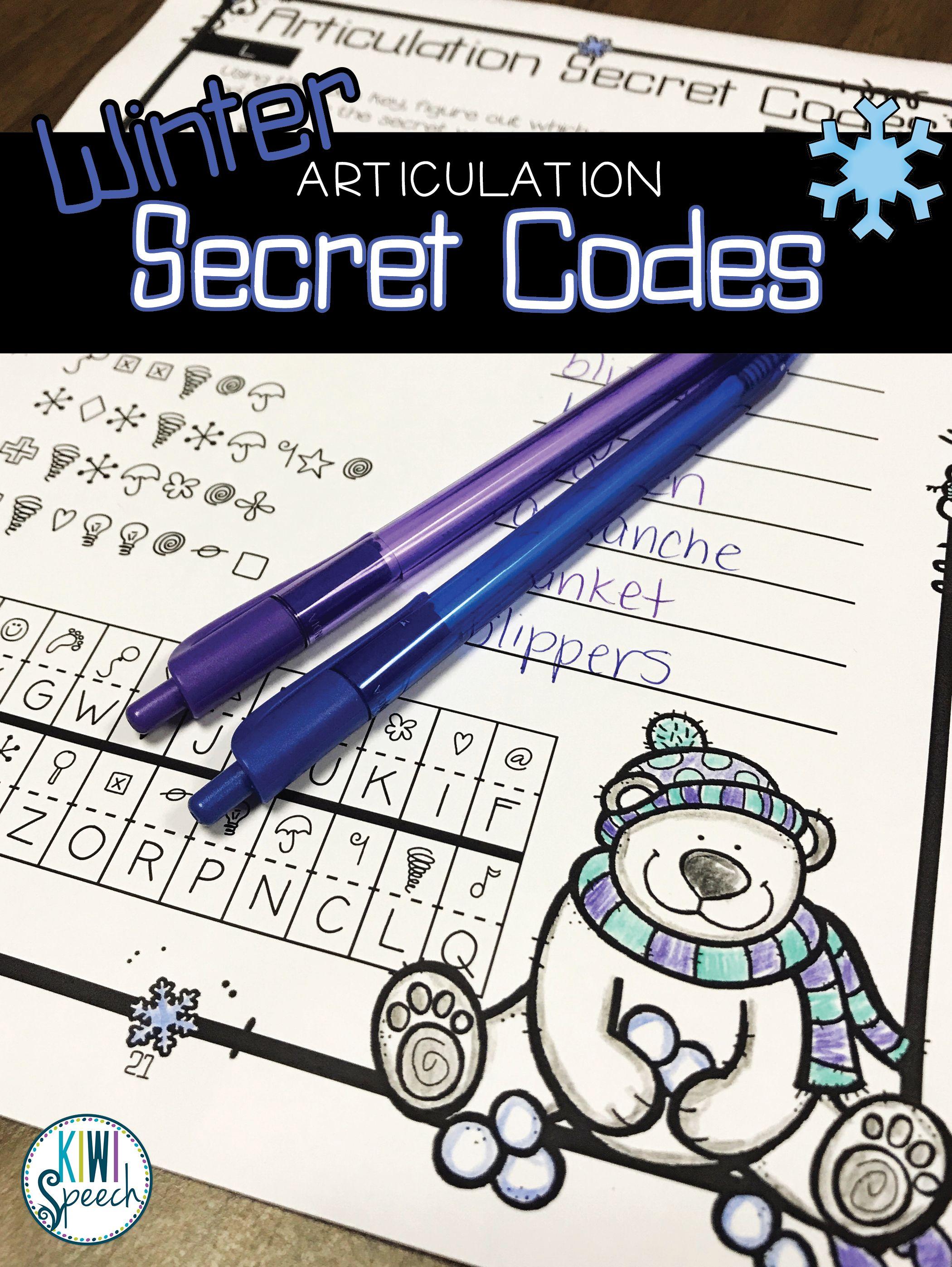 No Prep Seasonal Articulation Secret Codes For Speech