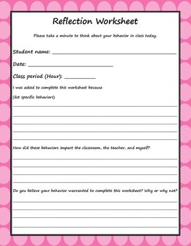 one page student reflection worksheet one page student reflection worksheet logthis product can also be purchased in my classroom management - Reflection Worksheet