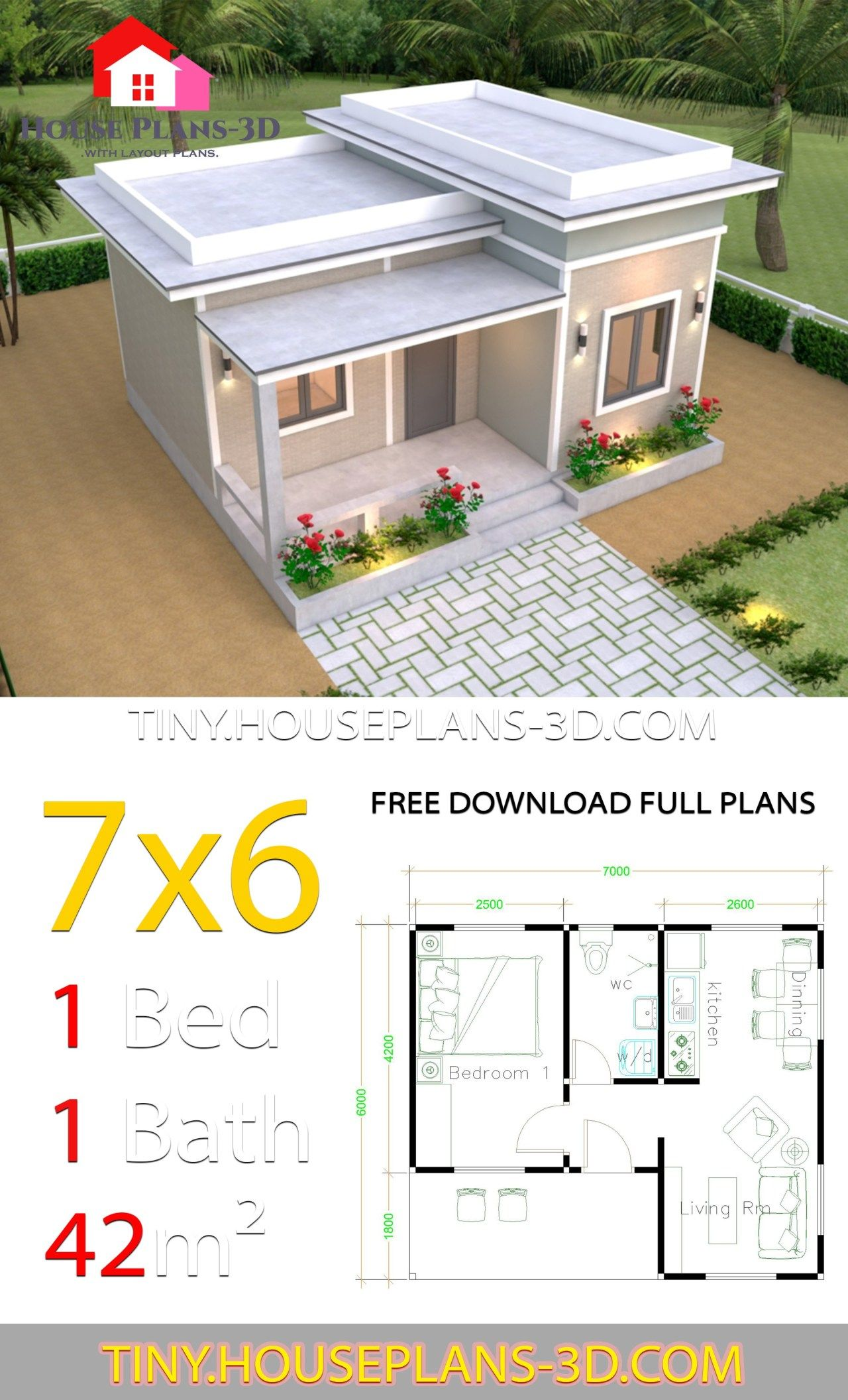 7x6 With One Bedroom Flat Roof In 2020 Tiny House Layout Small