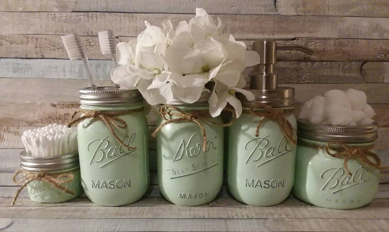 4 Piece Mason Jar Bathroom Set Bathroom Set Bathroom  Mason jar