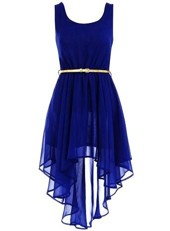 Asymmetric Royal Blue Dress - Belted Dress For Girls, valentine's ...