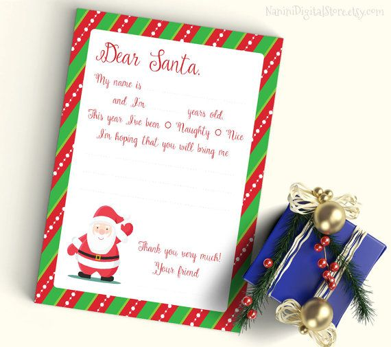 Dear Santa Printable Letter To Santa Claus Christmas Wish List For Kids You Can Use This Le Kids Christmas Letter Christmas Lettering Printable Letters