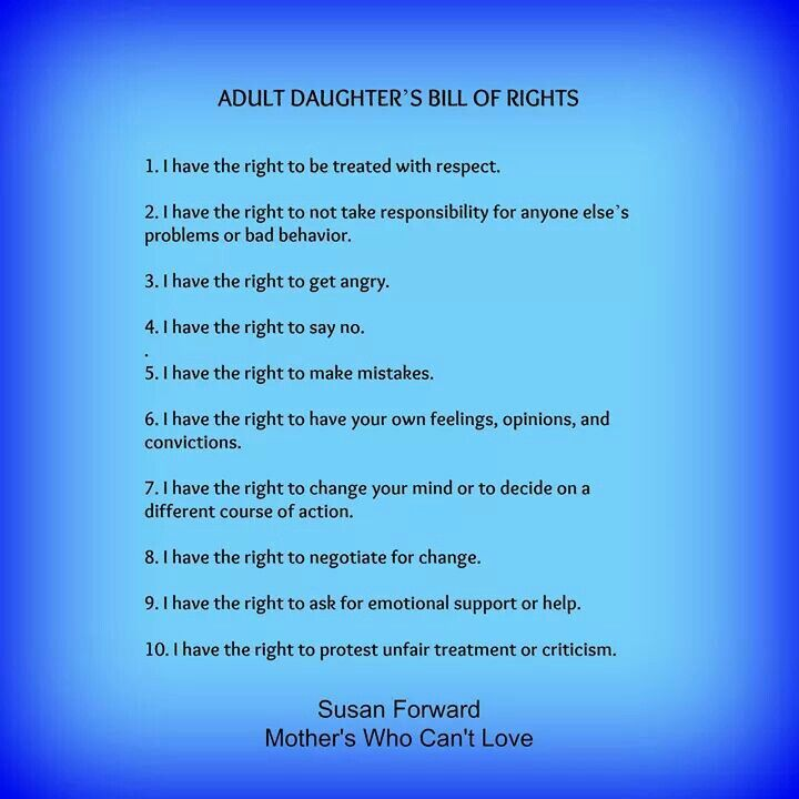 Adult Daughter's Bill of Rights | Obstacle | Narcissistic