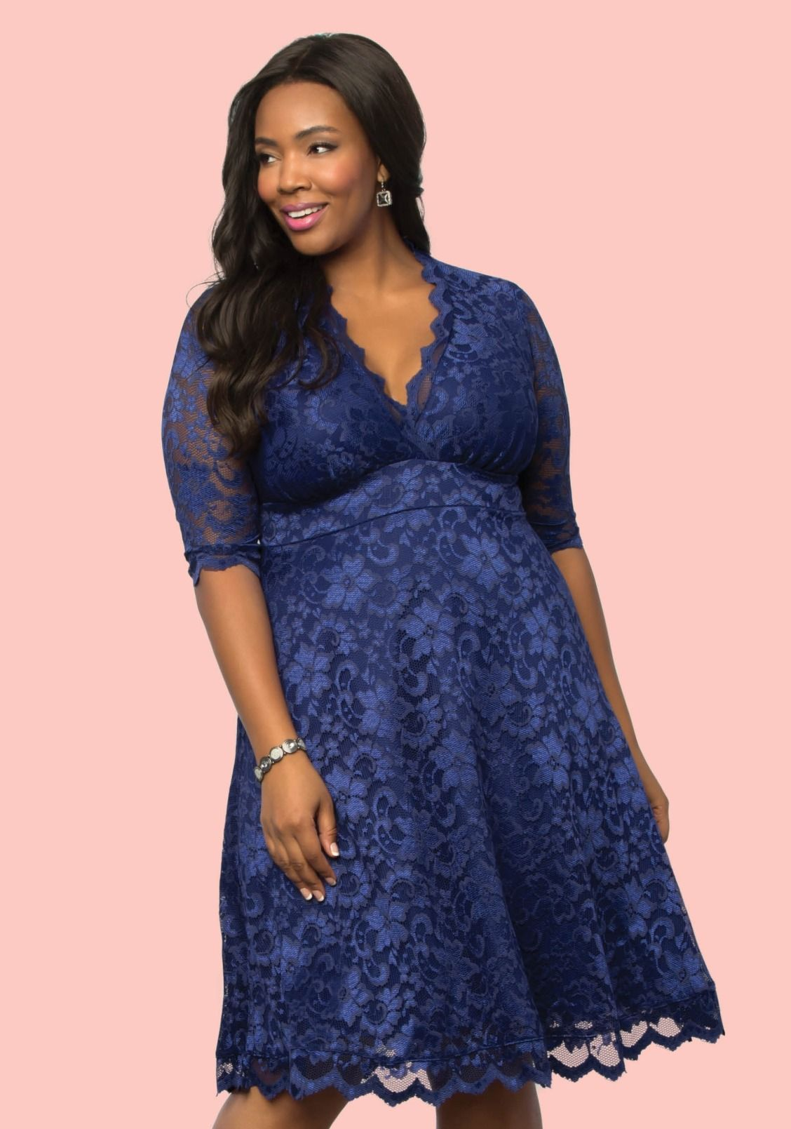 Sapphire blue 3/4 sleeve plus size mother of the bride dress by ...