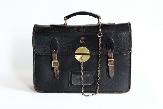 e511f2ea72 Reserved for Mouna Vintage Leather Briefcase - Diplomatic Bag with Royal  Cypher on Etsy