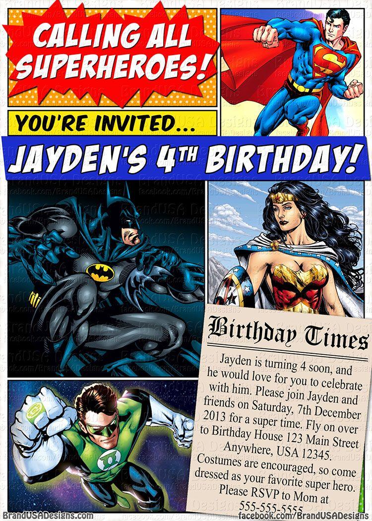 Superhero Custom Birthday Invitation (DC Comics) - Superman ...