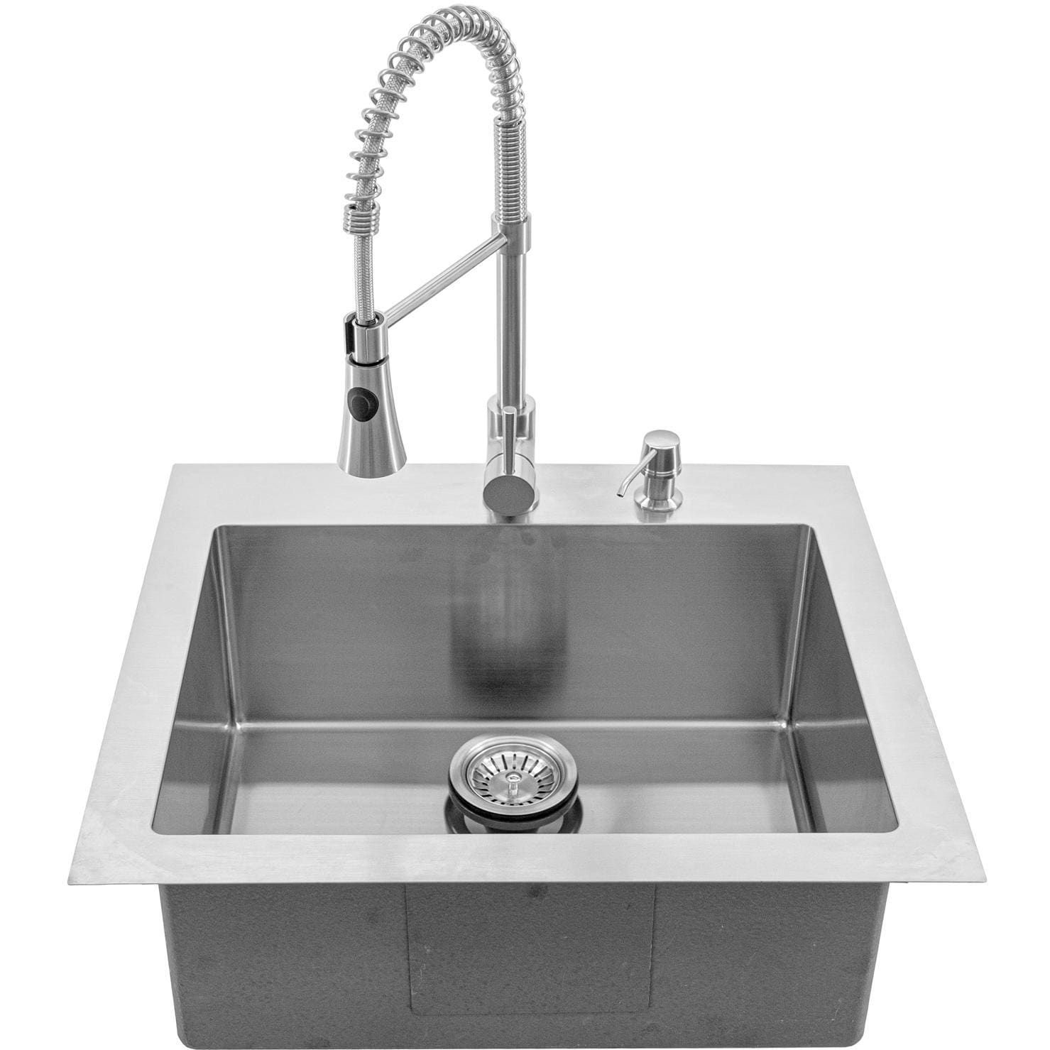 Bbqguys Signature 25 X 22 Outdoor Rated Stainless Steel Drop In Sink W Pull Down Coil Spring Ho In 2021 Stainless Steel Drop In Sink Drop In Sink Outdoor Kitchen Sink 25 x 22 stainless steel sink