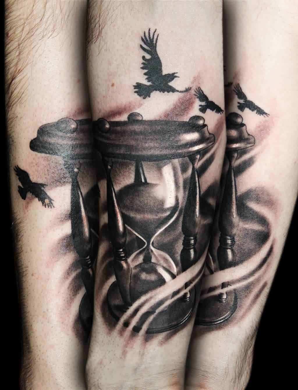 Flying Birds And Hourglass Tattoos Time Sand Tattoo Pinterest