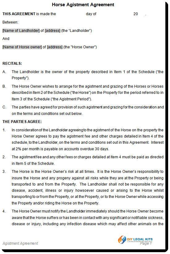 Horse Part Loan Agreement Template Horse Share Agreement