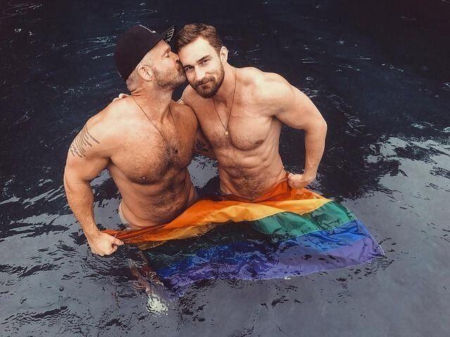 Naked man flag gay pic