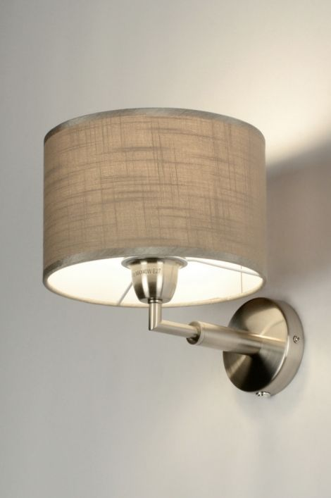 wandlamp 71814: modern, metaal, staal , rvs, stof, taupe ...