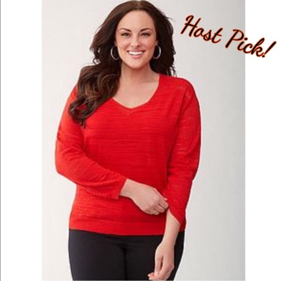 HOST PICK! Lane Bryant Red Vneck pullover 18/20 Dress it up or down! Light weight & versatile. Semi-sheer due to the weave. Lane Bryant Sweaters V-Necks