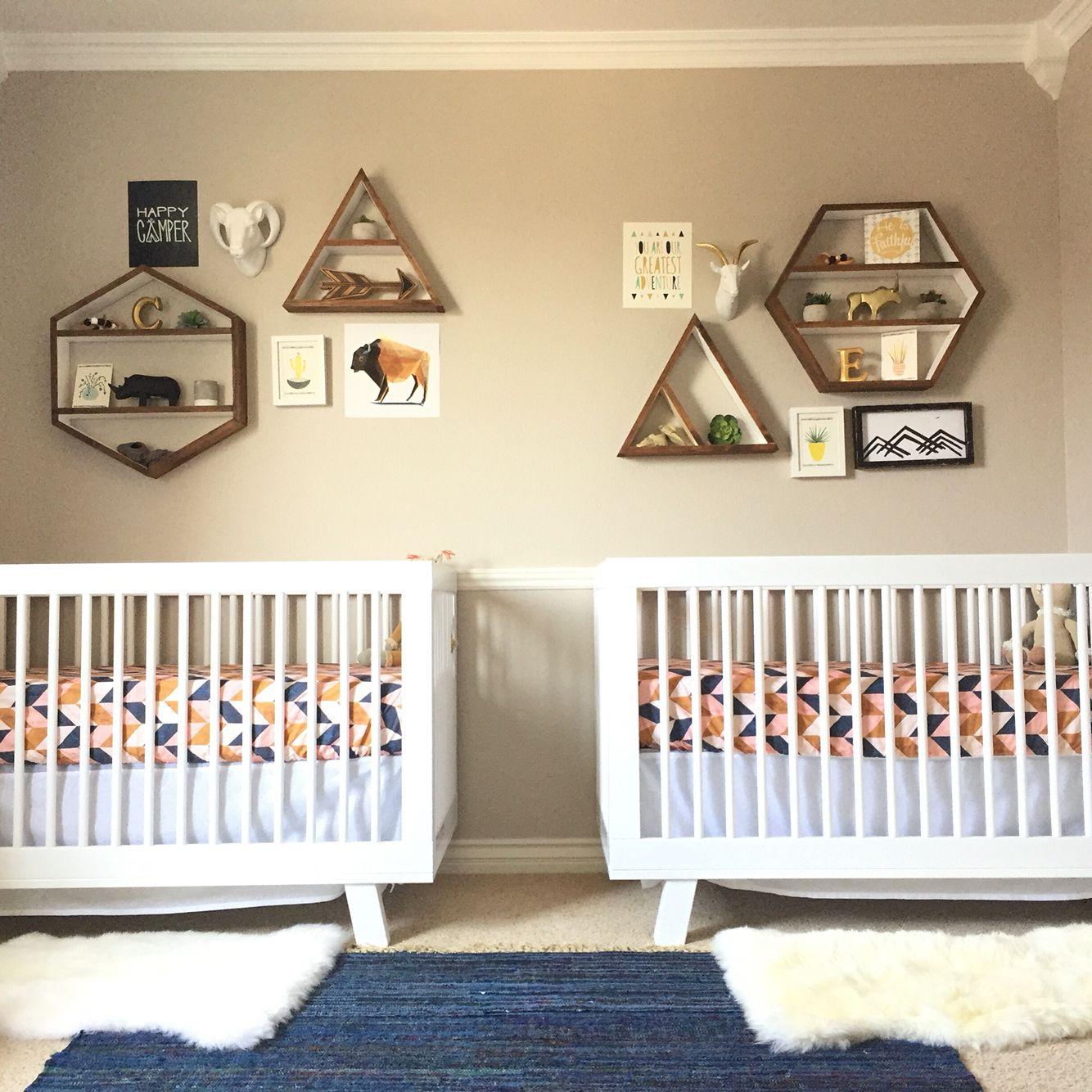 Fabulous Unisex Nursery Decorating Ideas: Modern Geometric Boho Nursery For Gender Neutral Twins