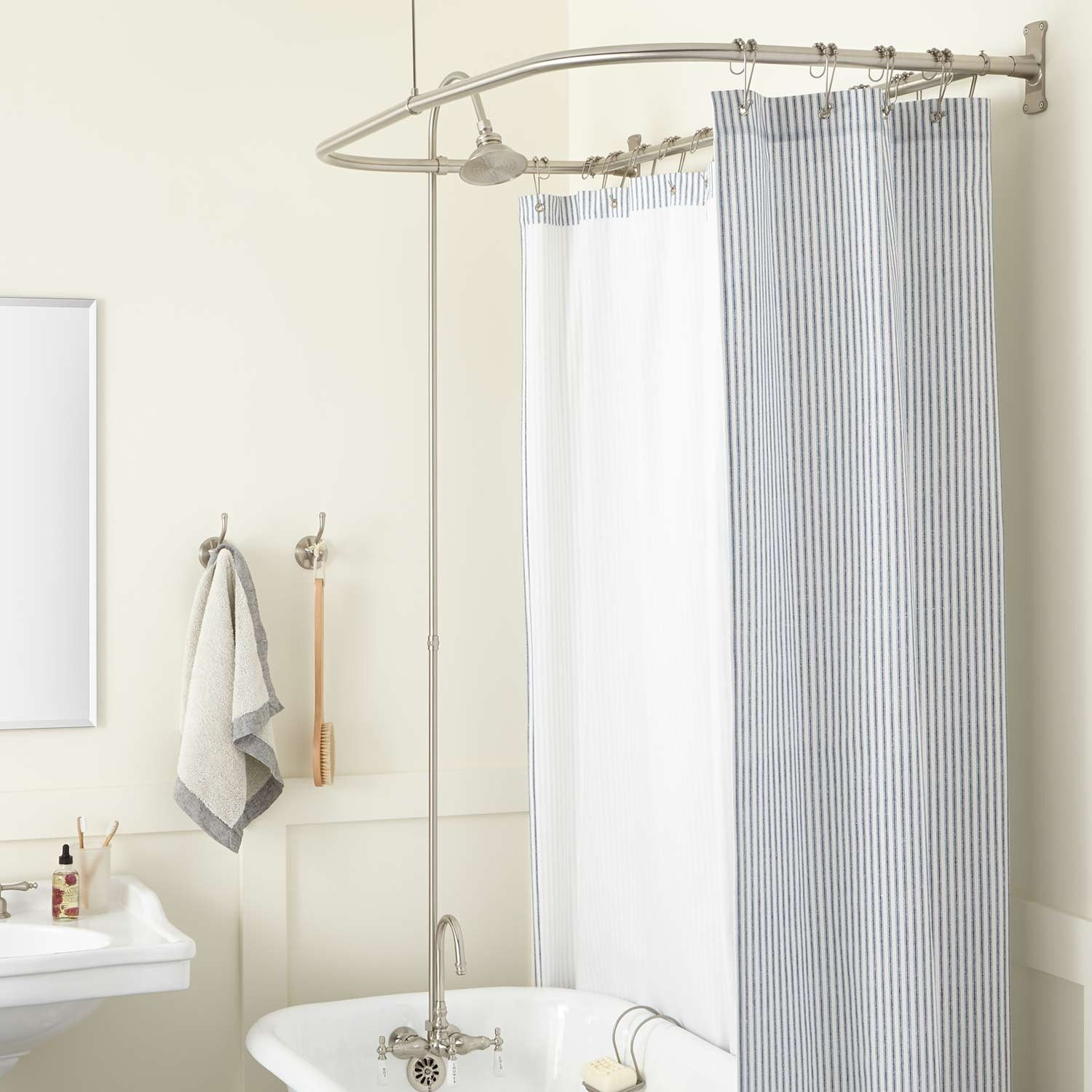Gooseneck Clawfoot Tub Shower Conversion Kit D Style Solid Brass