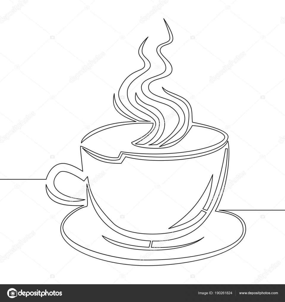 Cup Of Coffee Drawing And Continuous Line Drawing Cup Of Coffee Vector Stock Vector Coffee Vector Drawing Cup Coffee Cup Drawing