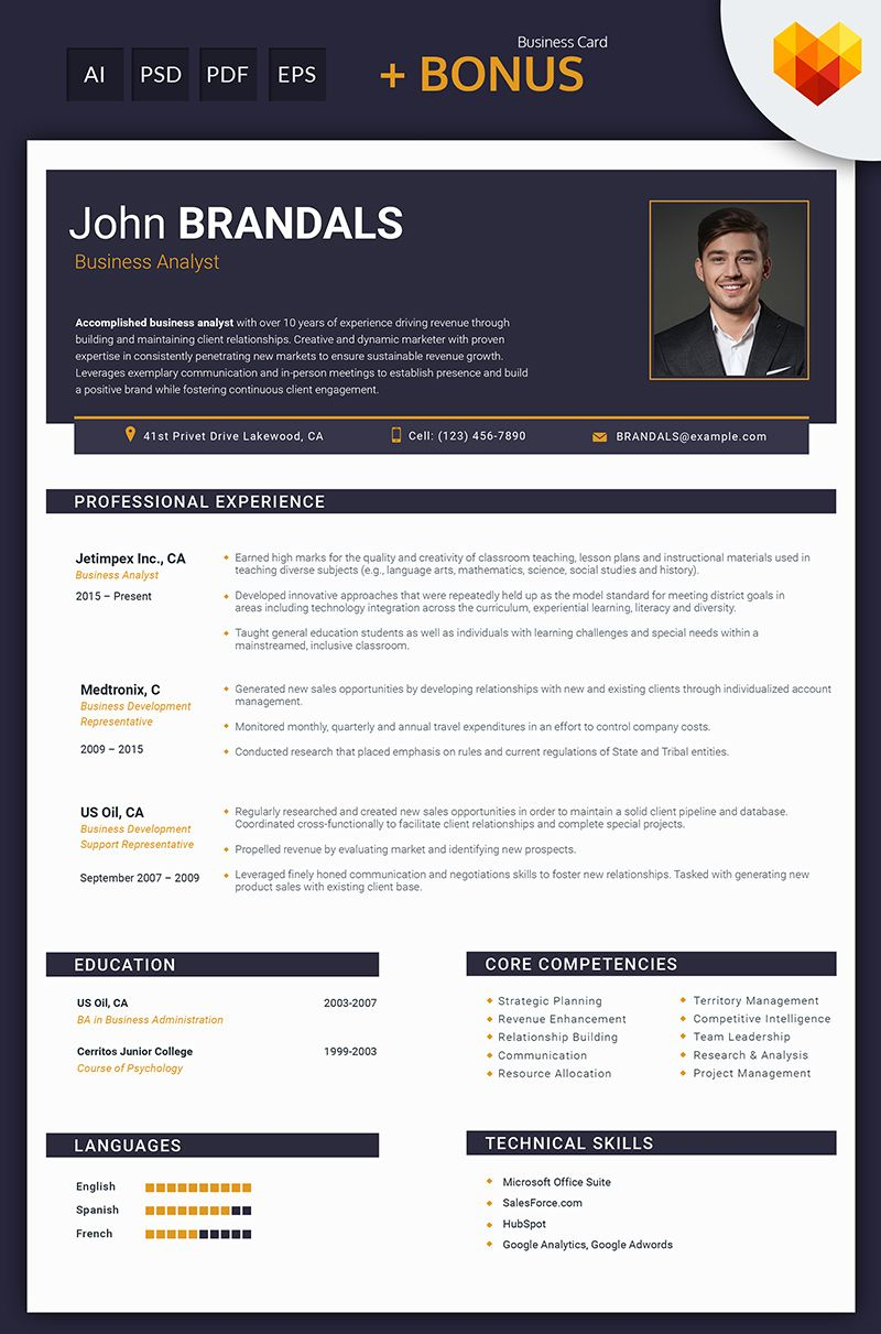 Brand Analyst Sample Resume Alluring John Brandals  Business Analyst And Financial Consultant Resume .