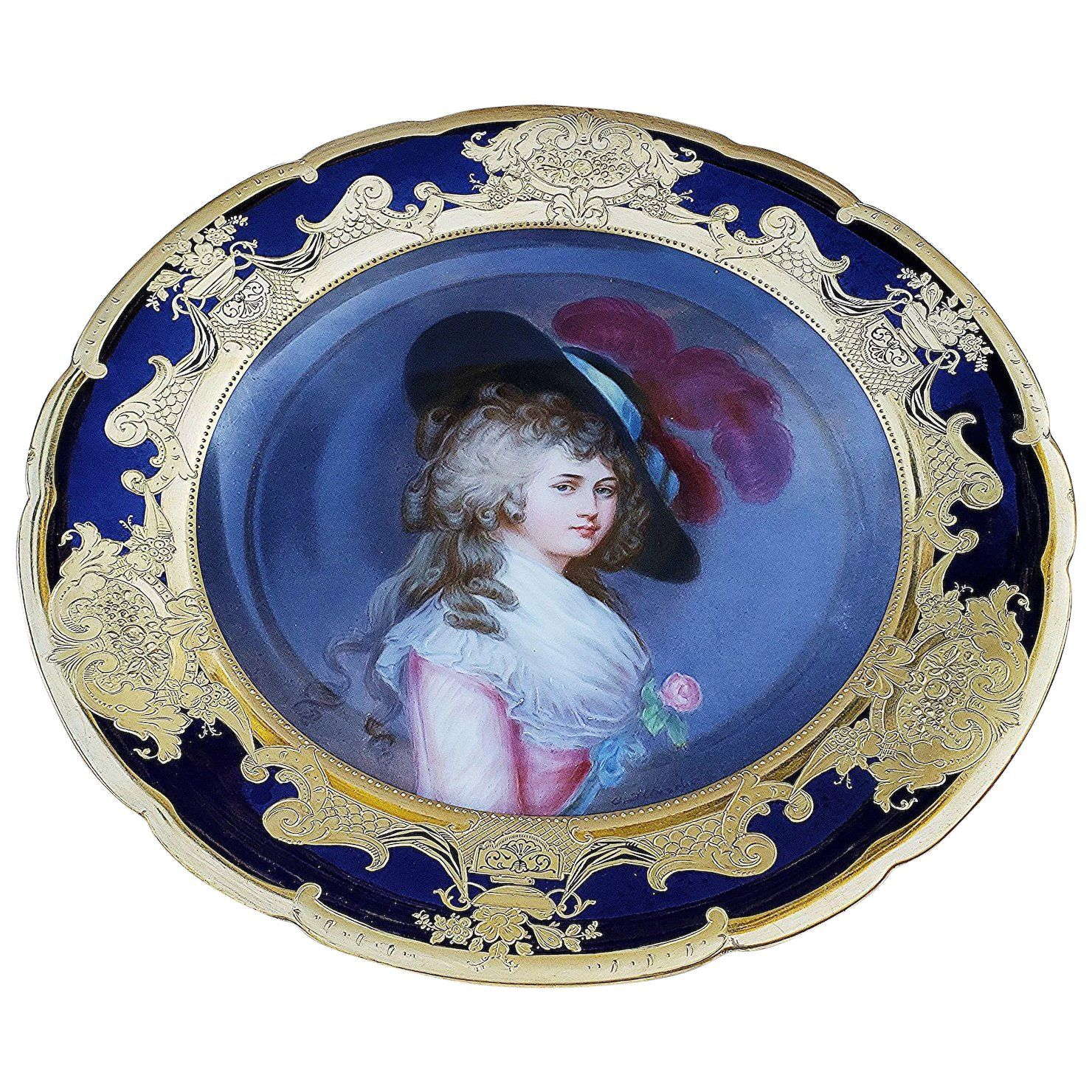 Lovely Lady Portrait Pitcher Lady Portrait Creamer Bavaria Portrait Plate Sweet Cream Pitcher Germany