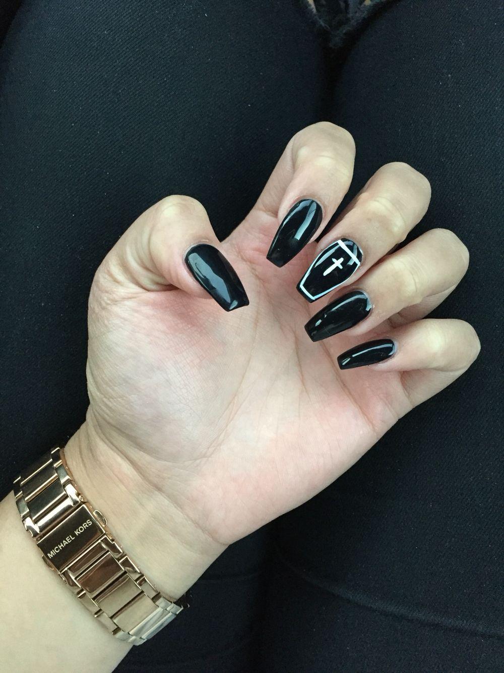 Black Halloween Coffin Nails Holloween Nails Halloween Acrylic Nails Goth Nails