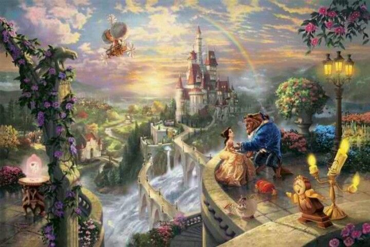Beauty and the Beast! | Kinkade disney, Thomas kinkade ...