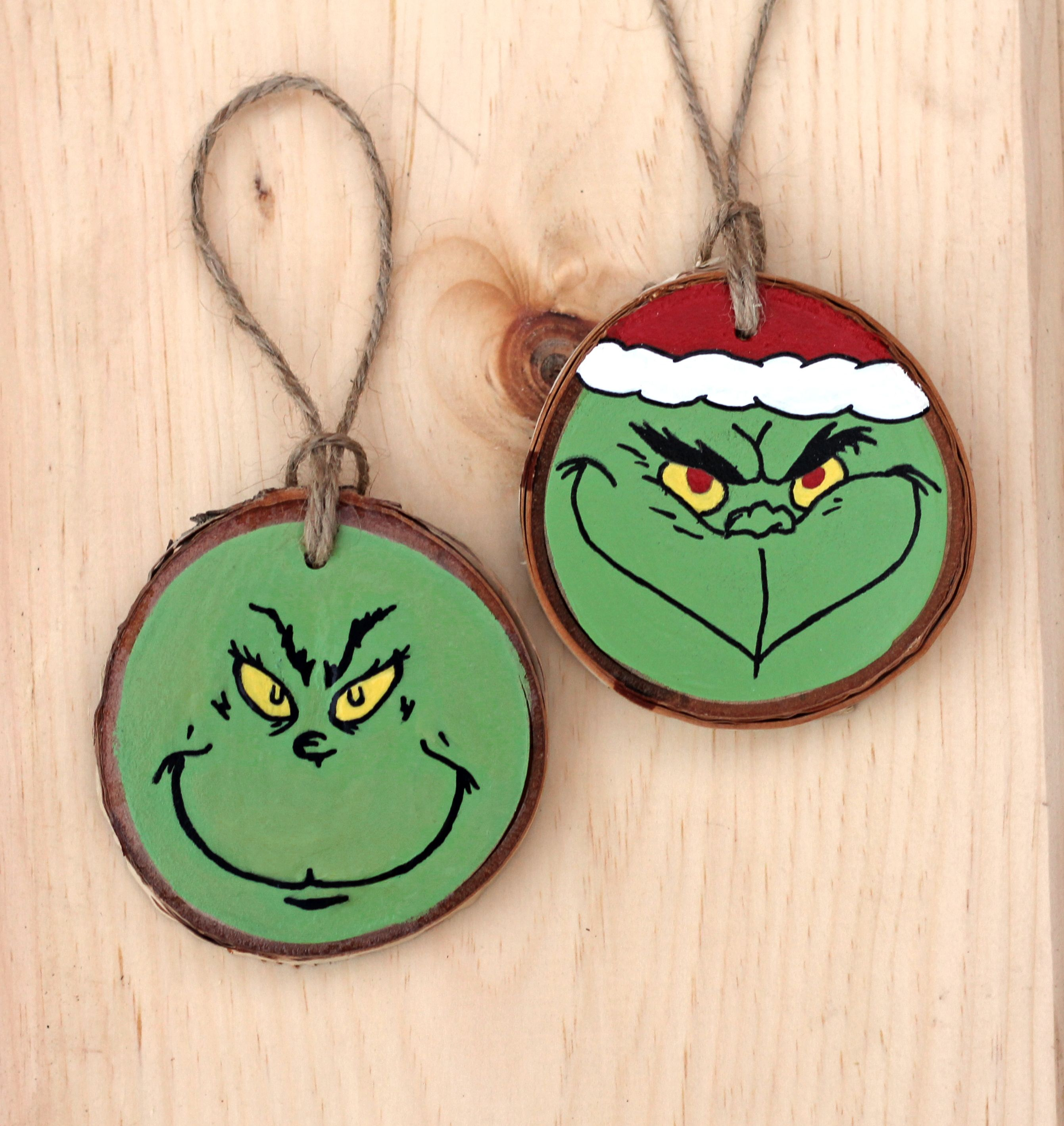 Grinch Hand Painted Wood Slice Ornaments Christmas