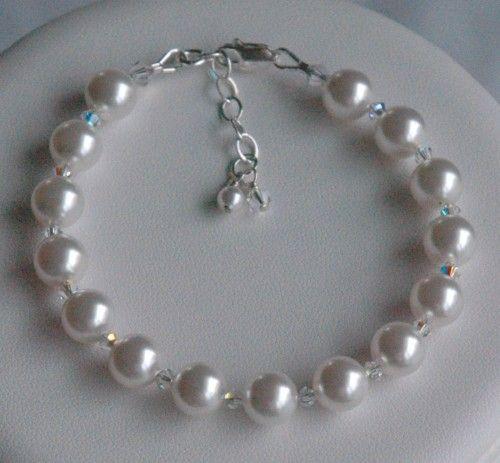 Simple Swarovski Crystal Pearl Bracelet Bridesmaids Wedding Bride Bridal Jewelry