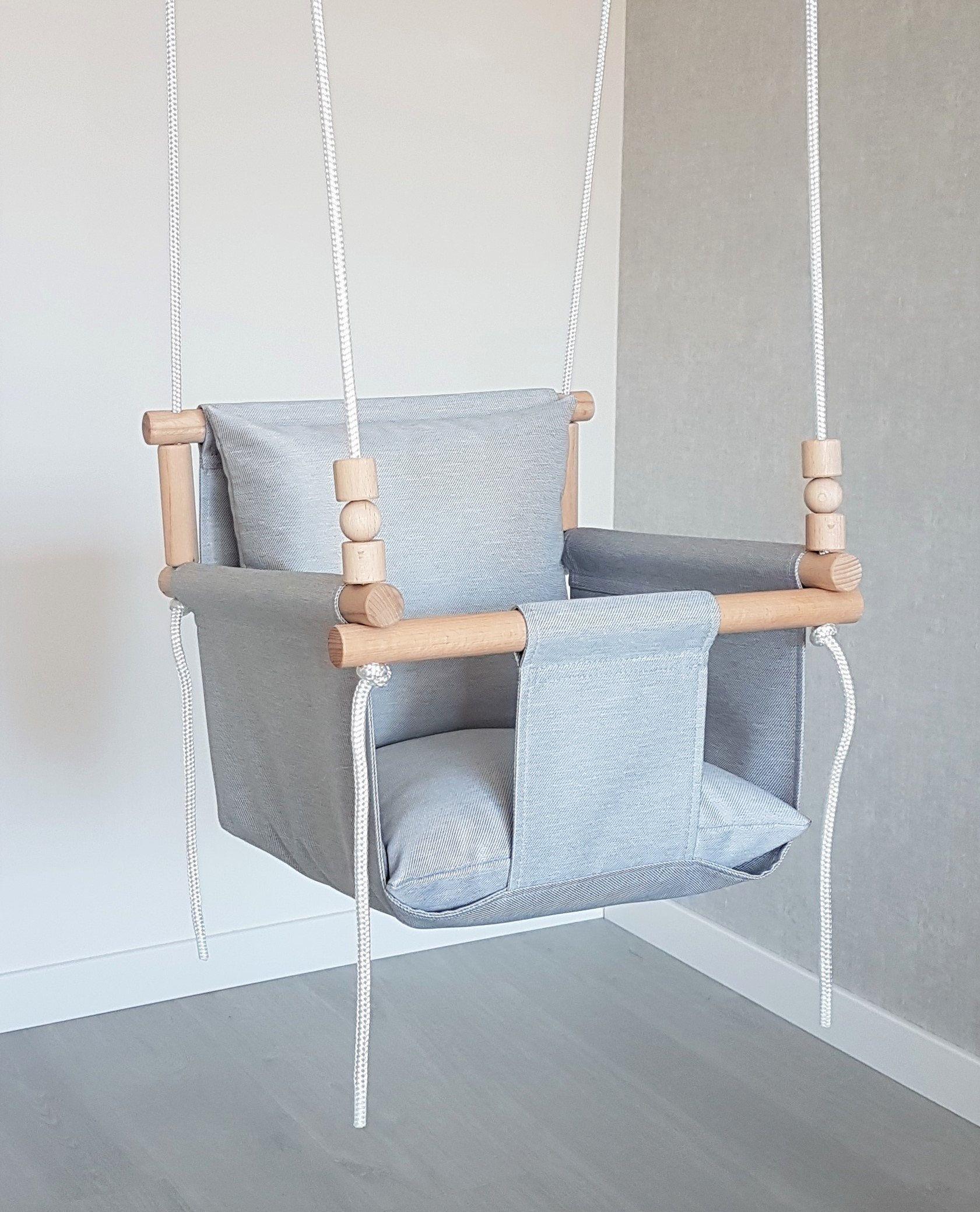 Photo of A PRUEBA DE TIEMPO gris claro / diseño cómodo columpio para bebé / columpio al aire libre / columpio para niños pequeños / primer regalo de cumpleaños / silla / hamaca / columpio para niños