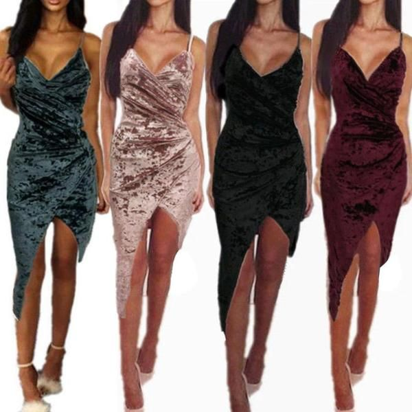 Asymmetric Velvet Crossed Bodycon Dress