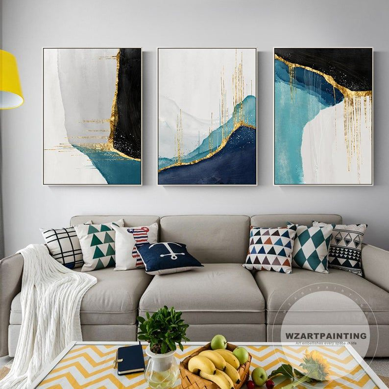 Set Of 3 Framed Wall Art Geometric Abstract Gold Navy Blue Etsy In 2020 Abstract Canvas Painting Modern Art Paintings 3 Piece Wall Art