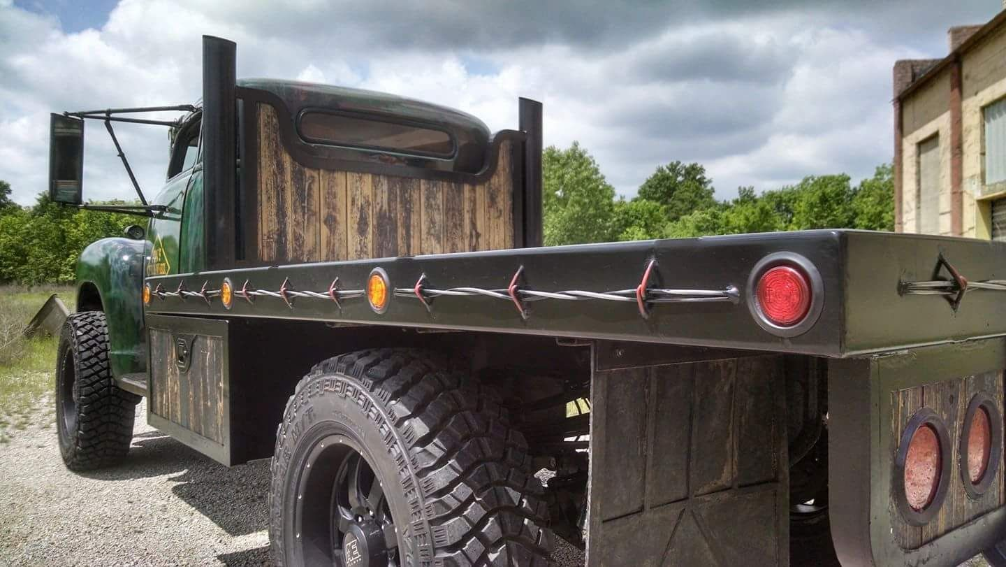 ton chevy pickup with a custom flatbed