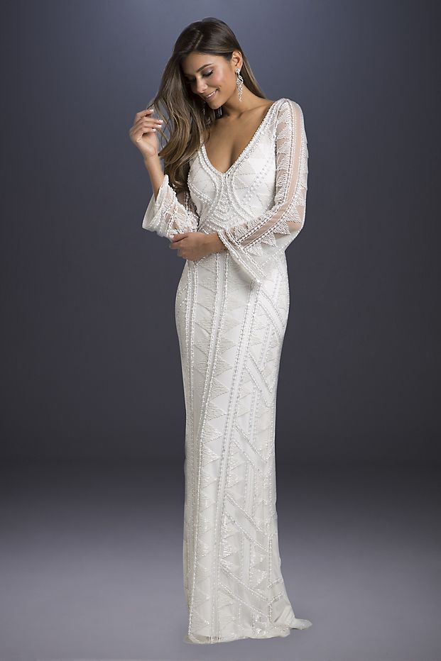 55c8a34d5a Geometric-Beaded Long Sleeve Sheath Wedding Dress | David's Bridal ...