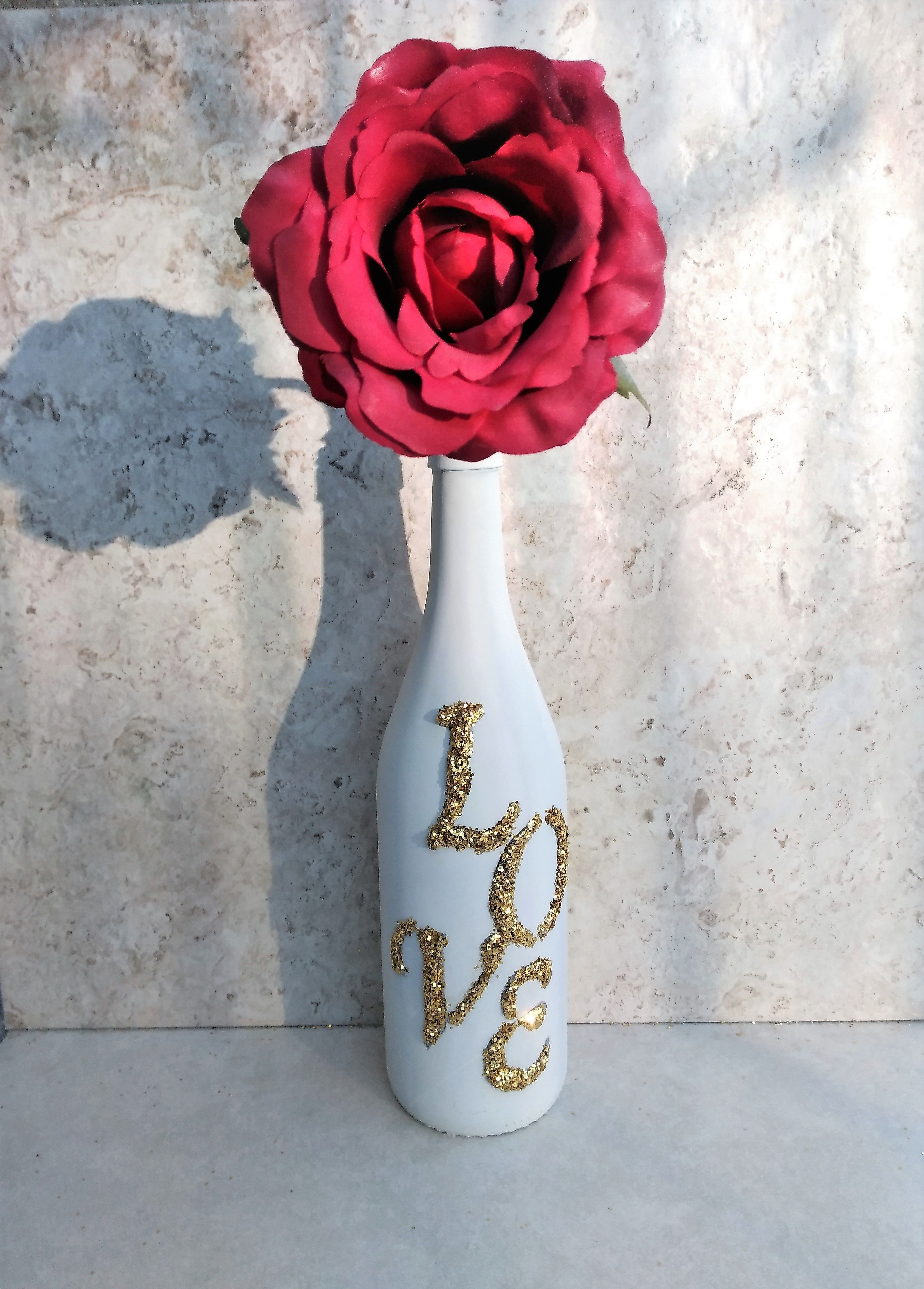 Love wine bottle is the perfect gift for weddings valentines day simply decorate your home or office with this upcycled wine bottle for weddings have your guests signed their name floridaeventfo Gallery