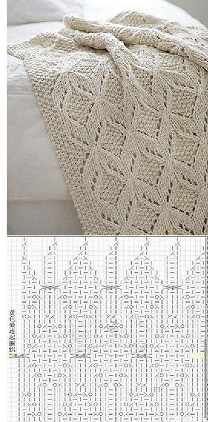 Pin de PUECH en couverture | Pinterest | Manta, Tejido y Dos agujas