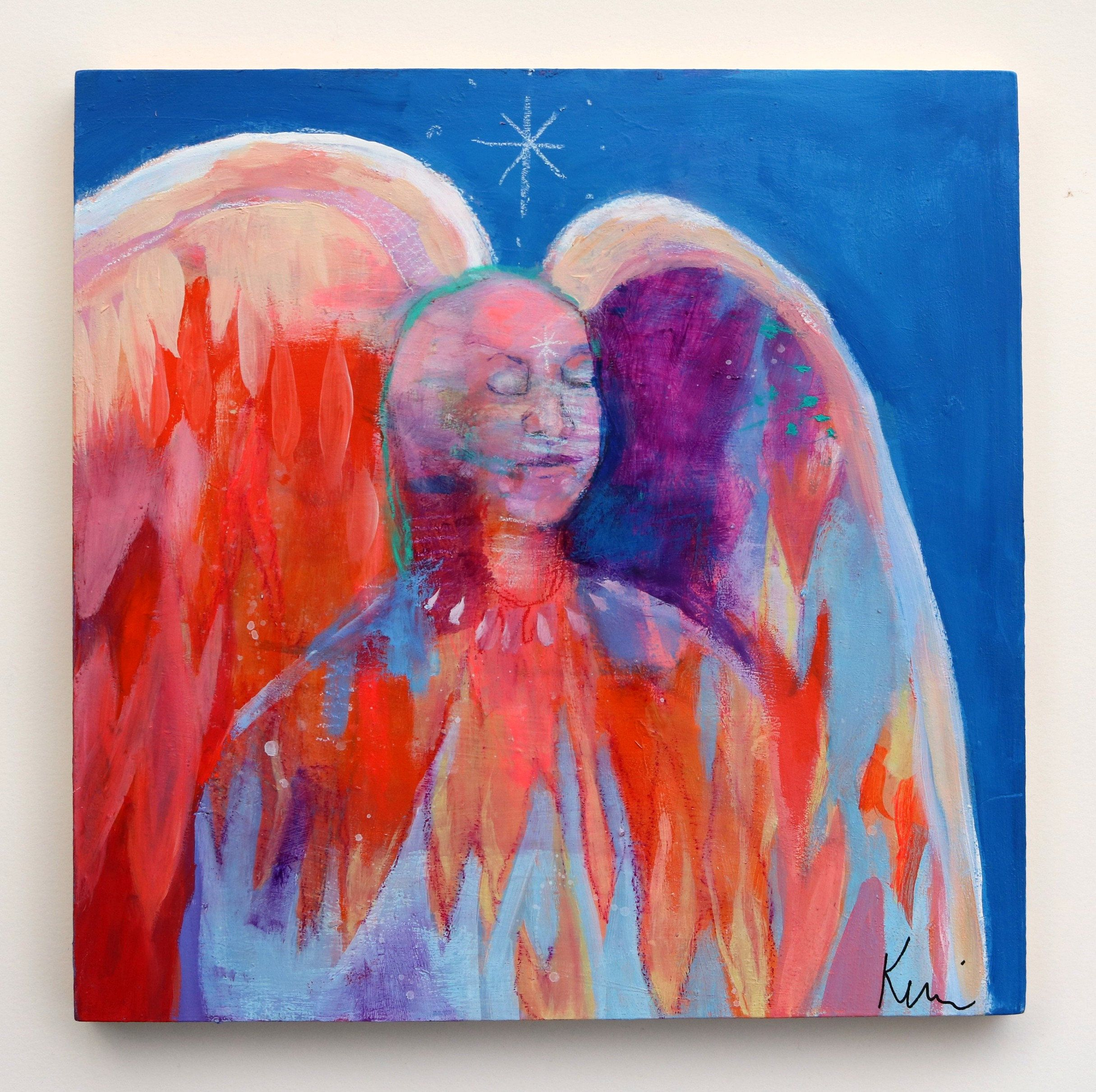 Small Abstract Angel Figure Painting Spiritual Colorful Modern Original Artwork Just Be 12x12 By Kerri M In 2020 Etsy Handmade Figure Painting Alcohol Ink Painting