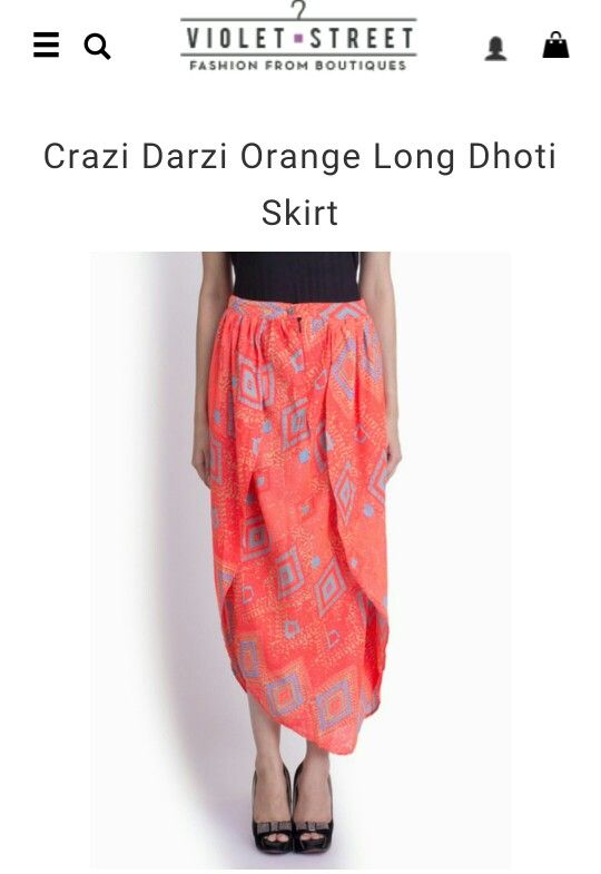 Love this indo western bright orange dhoti styled skirt? Check out more amazing ones on: http://www.violetstreet.com/boutiques/crazi-darzi
