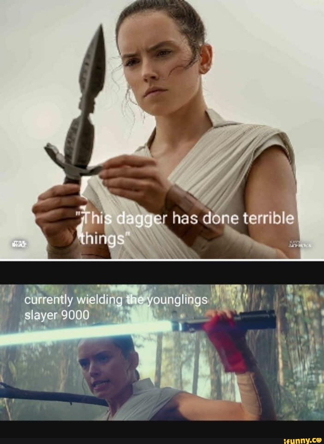 Ger Has Done Terrible Thirig Currently Wielding The Younglings Slayer 9000 Ifunny Star Wars Humor Star Wars Jokes Star Wars Pictures