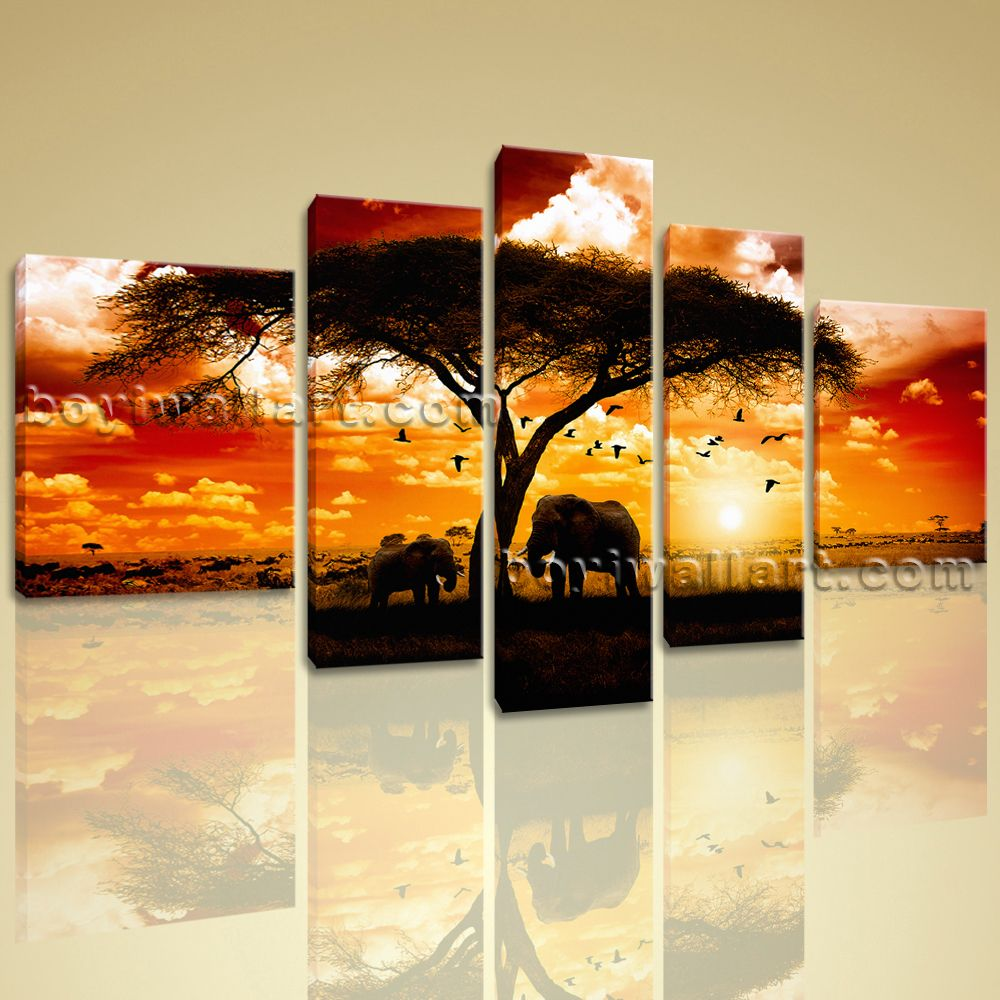 Huge Canvas Print HD Giclee Africa Landscape Tree Elephant Sunset ...