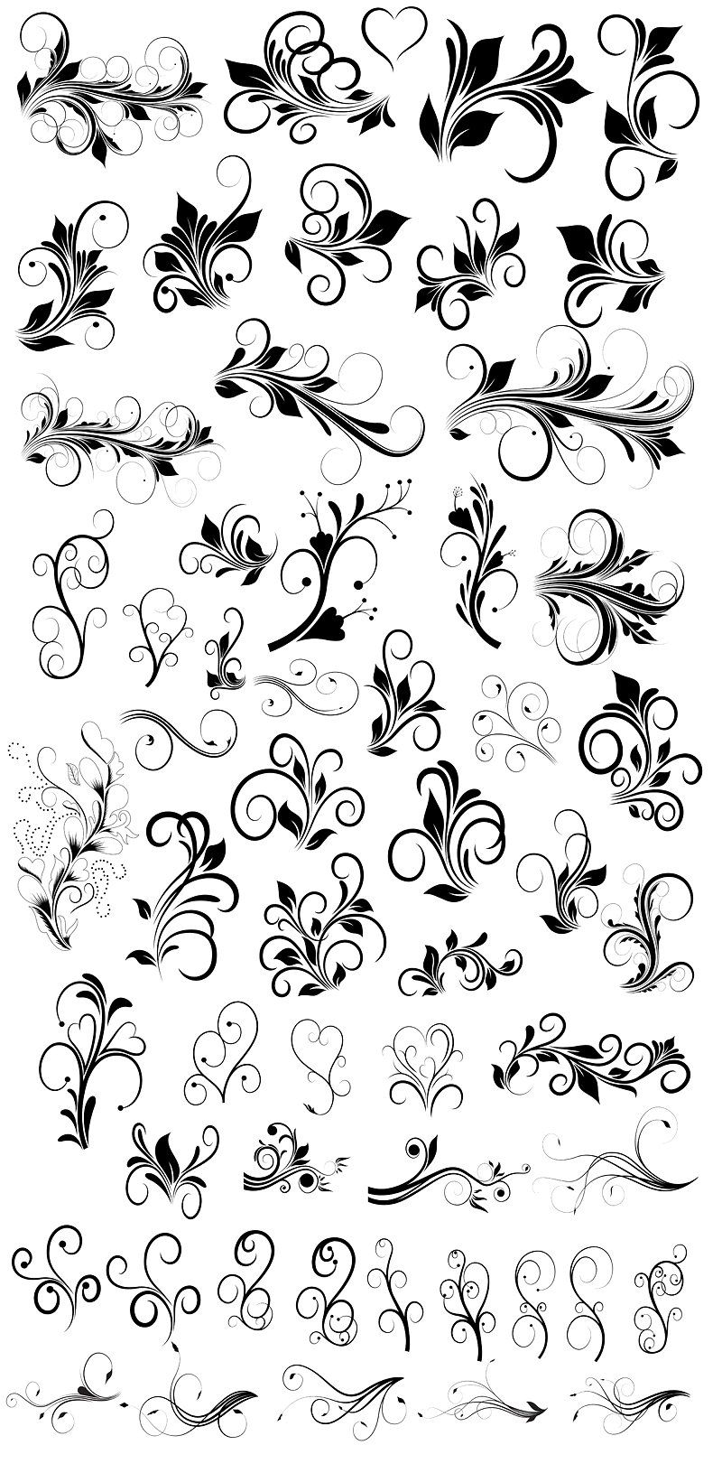 Floral brushes photoshop ai files calligraphy letters flourish tattoo also abstract design poster rh pinterest