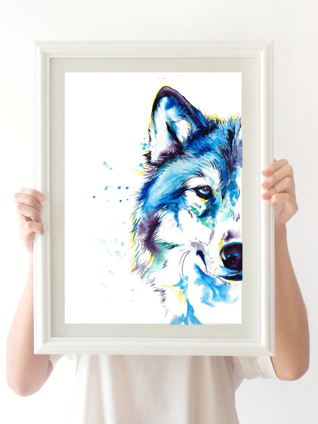 Blue Wolf Imprime Colore De Peinture Aquarelle Originale Decor