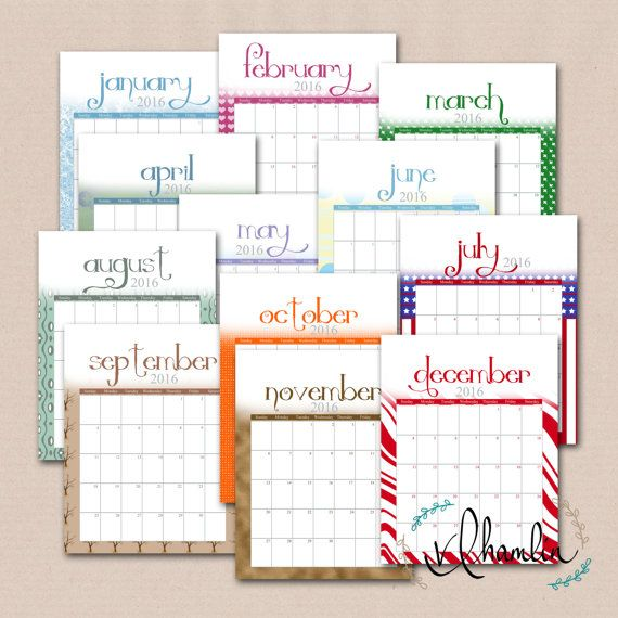 2016 Calendar, Printable Calendar, Seasonal, Printable Monthly - printable monthly calendars