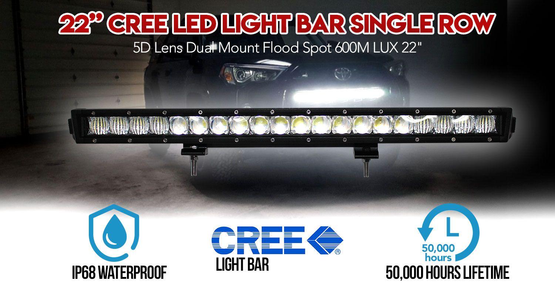 22inch Cree Led Light Bar Single Row 5d Lens Dual Mount Flood Spot 600m Lux Led Light Bars Cree Led Light Bar Cree Led
