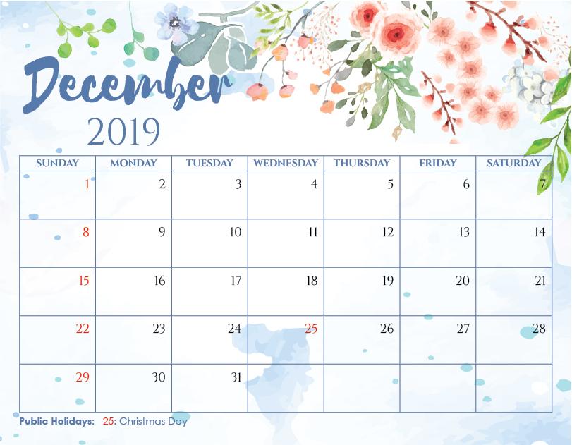 Calendar December 2019 Printable Word Template 12 Month