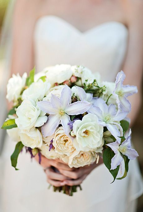 Wedding Bouquet: Garden Roses, Clematises, Passion Vine, and Lavender