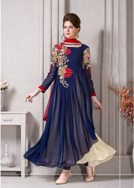 Phenomenal Blue Colored Embroidered Faux Georgette Anarkali ( 1 of 2 ), Product Code: TSMZSK105, Price: Rs.3,359 [After 20% off], USD $ 51